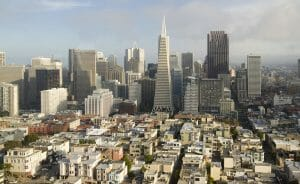 panoramic view of San Francisco down town