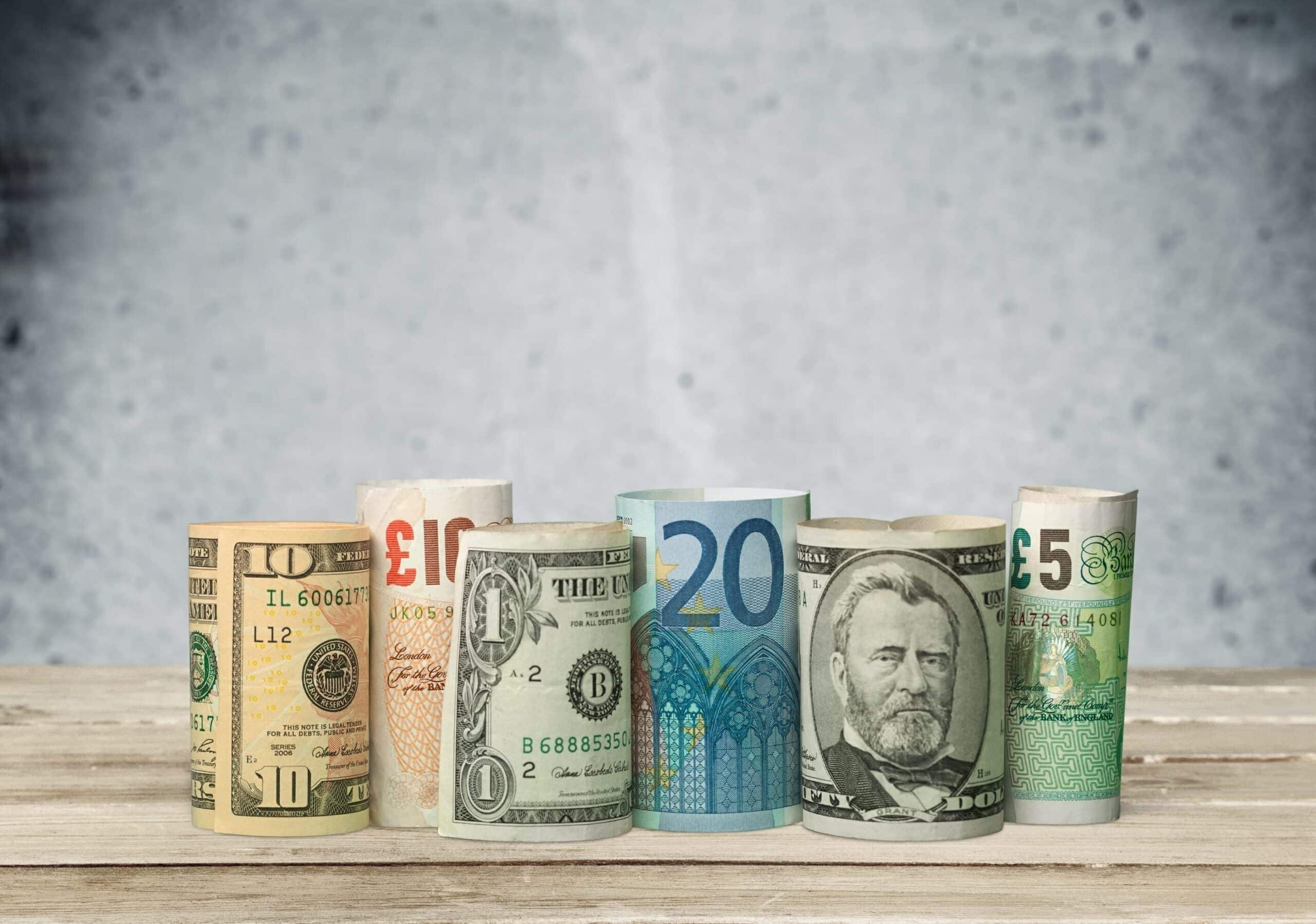 Currency Currency Exchange Stock Exchange Paper Currency Rolled Up Trading European Union Currency