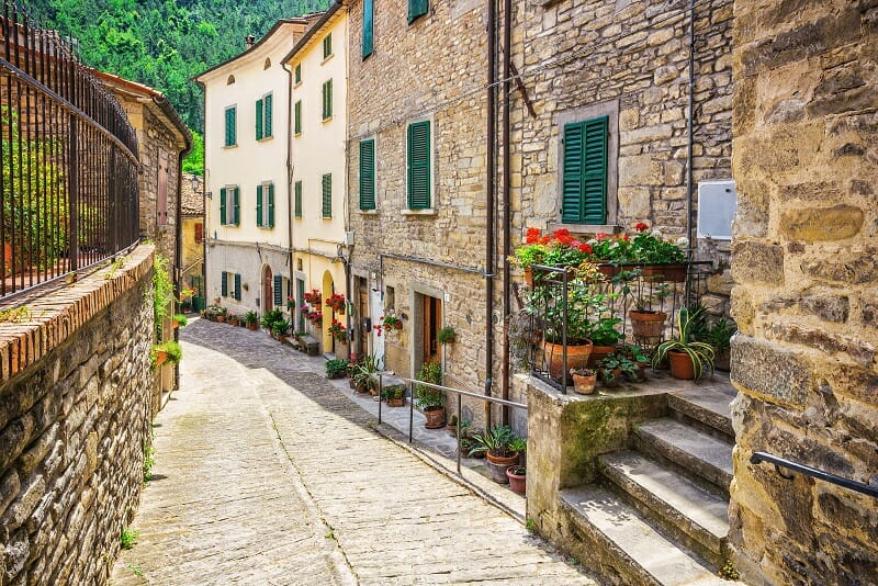 typical Italian street in a small provincial town of Tuscan Italy Europe