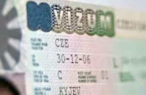 Close-up page of passport with Czech Republic national visa